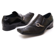 Mens Buckle Slip On Shoes Pointy Toe Long Tapered Free Horn 3 Colors Leather New