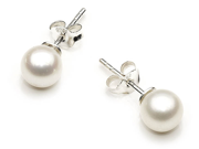 I. M. Jewelry PE8M 8mm Round Freshwater AAAA Cultured White Pearl in Silver Stud Earrings
