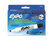 Sanford Expo Dry Erase Whiteboard Markerss, Chisel Tip, Assorted, 4/Set, ST - SAN83074