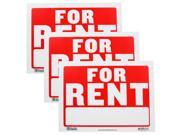 Bazic Small 9 x 12 Inches For Rent Sign, Pack of 3 (S-4)