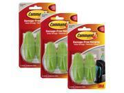 3M Command Medium Damage-Free Hanging Hooks, Leaf Green, Pack of 2