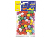 """Glitter Pompons, 1/2"""" Multicolored Glitter Poms, Assorted Colors, 80/Pack - CKC8116"""