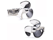Silver tone Propeller Cufflinks