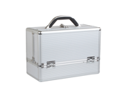 "Aluminum Makeup Case, Cosmetic Case.  Professional Makeup Train Case in Diamond Silver Color.  Aluminum Utility Case with Extendable Trays.  (Case Dimensions: 13.4"" X 6.7"" X 9.4"")"