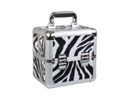 """Aluminum Zebra Cosmetic Case. Makeup Case, Storage & Utility Case with Extendable Trays to Organize. (Case Dimensions: 8.66"""" X 7.48"""" X 10.03"""")"""