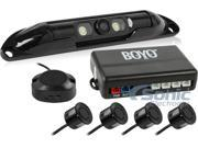 BOYO Vision VTL420CLP-BLBlack Bartype License Plate Camera w/LED Lights and 4 Black Color Rear Parking Sensors