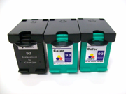 Cisinks ® 3 Pack (1 Black,2 Color) HP 92 & 93 Remanufactured Tri Color Ink Cartridge - HP92 C9362W HP93 C9361W For HP PhotoSmart 3170 3173 7850 C3100 C3193 C3194 PSC 1507 1510v 1510 1510xi