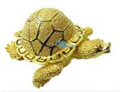 Cisinks ® Golden Turtle Bejeweled diamond Jewelry Trinket Box L JF1666