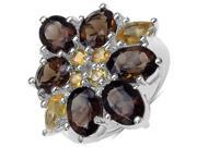 7 9/10 CTW Oval Cut Smoky Topaz with Marquise and Round Cut Citrine Ring in .925 Sterling Silver