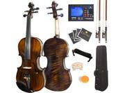 Mendini 1/2 MV500 Flamed 1-Piece Back Solid Wood Violin with Case, Tuner, Shoulder Rest, Bow, Rosin, Bridge and Strings - Full Size