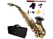 Cecilio SS-300BNG Black Nickel Plated Curved Bb Soprano Saxophone with Gold Plated Keys + Case, Mouthpiece, 11 Reeds, & More