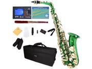 Mendini by Cecilio MAS-GL+92D+PB Green Lacquered E Flat Alto Saxophone with Tuner, Case, Mouthpiece, 10 Reeds and More