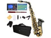 Mendini by Cecilio MAS-BNG+92D+PB Black Nickel Plated with Gold Keys E Flat Alto Saxophone with Tuner, Case, Mouthpiece, 10 Reeds and More