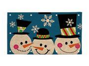 Three Smiling Snowmen Fiber Optic Coir Door Mat