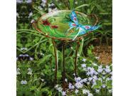 Metal Sculpted Blue Butterfly and Flowers Birdbath with Stand