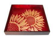 J Fleet Designs Sunflower Square Tray in Coffee / Red