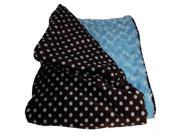 Lux Polka Dot Rosebud Baby Blanket- Blue, Black & White
