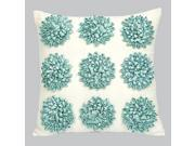 Jubilee Dahlia Flower Pillow-Turquoise