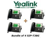 Yealink SIP-T38G Bundle of 4 Gigabit Color 6-Line VoIP Phone No Power Supply
