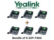 Yealink SIP-T46G Bundle of 6 Gigabit 16 Line VoIP Phone PoE No Power Supply