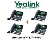 Yealink SIP-T46G Bundle of 4 Gigabit 16 Line VoIP Phone PoE No Power Supply