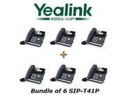 Yealink SIP-T41P Bundle of 6 Gigabit Color IP Phone 3-Line No Power Supply