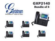 Grandstream GXP2140 (BUNDLE of 6)4 Line IP Phone 4.3 LCD Gigabit PoE Bluetooth
