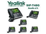 Yealink SIP-T48G 6-Pack Gigabit 16 Line IP Phone Touchscreen POE No Power Supply
