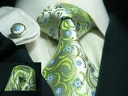 Men's Green Floral Silk Tie Set 306S