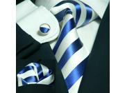 Men's Stripes Blue And White 100% Silk Tie Set TheDapperTie 91A