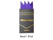 Men's Solid Pre Folded Silk Pocket Square Hanky on Card Royal Blue