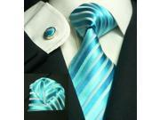 Men's Stripes Light Blue Silk Tie Set TheDapperTie 658S