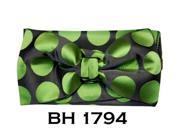 Men's Black Green Polka Dots Pre-Tied Bow Tie With Matching Hanky BH-1794
