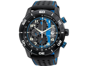 Citizen CA0467-03E Eco-Drive Chronograph Stainless Steel Leather Bracelet Black and Blue Dial Date Display