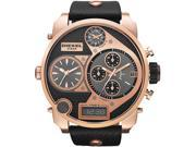 Diesel My Daddy Four Time Zone Dial Black Leather Mens Watch DZ7261