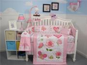 SoHo Designs Butterfly Kisses Baby Crib Nursery Bedding Set 14 pcs included Diaper Bag with Changing Pad, Accessory Case & Bottle Case