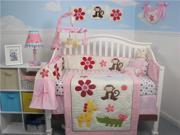 SoHo Designs Day At Zoo Baby Crib Nursery Bedding Set 14 pcs included Diaper Bag with Changing Pad, Accessory Case & Bottle Case