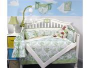SoHo Designs Sage French Toile Baby Crib Nursery Bedding Set 14 pcs included Diaper Bag with Changing Pad, Accessory Case & Bottle Case