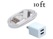 10FT 30 Pin USB Data SYNC Cable + Dual 2.1A Wall Charger for iPad 1 2 3 / iPhone 4 4S