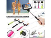 Selfie Stick MONOPOD Extendable Telescopic Holder Built-in Bluetooth Shutter Pink