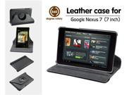 GSAStore - Leather Folio Case with 360 Degrees Rotatry Stand for Samsung Google Nexus 7 Android Tablet by Asus, Wi-fi (Black)