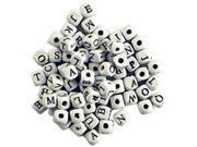 Wood Alphabet Beads 8mm 70/Pkg-White