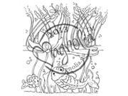 Once Upon A Time Cling Stamp-Water Lily Background