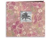 "Tropical Postbound Album With Photo Window 12""X12""-Hybiscus"
