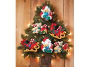 "Santa & His Sleigh Ornaments Felt Applique Kit-4-3/4""X4"" Set Of 6"