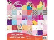 """Disney Mega Paper Pad 12""""X12"""" 150/Sheets-Girl&#59; 50 Designs/3 Ea"""