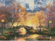 """Thomas Kinkade Central Park Counted Cross Stitch Kit-16""""X12"""" 16 Count"""