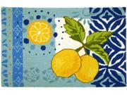 Yellow Lemons with Pretty Blues Kitchen Mat Area Accent Rug