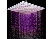 Square LED Shower Head Copper Brass Temperature Sensor 3 Color Sprinkler