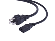Black 15 Feet NEMA 5-15P To IEC 60320-C13 10A/125V 18AWG/3C SJT Power Cord Cable
